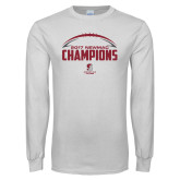 White Long Sleeve T Shirt-2017 NEWMAC Football Champions Half Ball