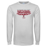 White Long Sleeve T Shirt-D3 Mens Volleyball National Champions