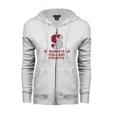 ENZA Ladies White Fleece Full Zip Hoodie-Springfield College Athletics