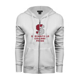 ENZA Ladies White Fleece Full Zip Hoodie-Springfield College Pride