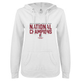 ENZA Ladies White V Notch Raw Edge Fleece Hoodie-D3 Mens Volleyball National Champions