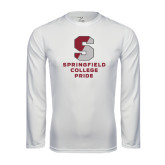 Performance White Longsleeve Shirt-Springfield College Pride