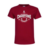 Youth Maroon T Shirt-2017 NEWMAC Football Champions Arched