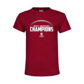 Youth Maroon T Shirt-2017 NEWMAC Football Champions Half Ball