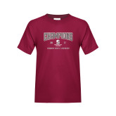 Youth Maroon T Shirt-NEWMAC Mens Lacrosse Champions