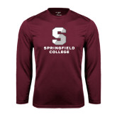 Performance Maroon Longsleeve Shirt-Official Logo
