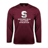 Performance Maroon Longsleeve Shirt-Springfield College Athletics