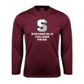 Performance Maroon Longsleeve Shirt-Springfield College Pride