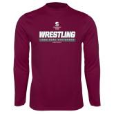 Performance Maroon Longsleeve Shirt-Wrestling - 1000 Dual Victories