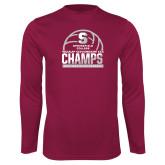 Performance Maroon Longsleeve Shirt-NCAA III Mens Volleyball Champs