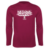 Performance Maroon Longsleeve Shirt-D3 Mens Volleyball National Champions
