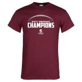 Maroon T Shirt-2017 NEWMAC Football Champions Half Ball