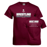 Maroon T Shirt-Wrestling - 1000 Dual Victories