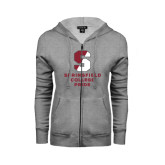 ENZA Ladies Grey Fleece Full Zip Hoodie-Springfield College Pride