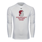 Under Armour White Long Sleeve Tech Tee-Springfield College Pride