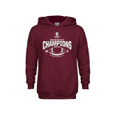Youth Maroon Fleece Hoodie-2017 NEWMAC Football Champions Arched