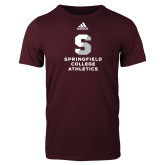 Adidas Maroon Logo T Shirt-Springfield College Athletics
