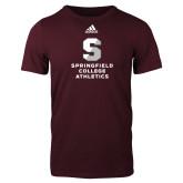 Adidas Maroon Logo T Shirt-Springfield College Athletics