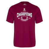 Performance Maroon Tee-2017 NEWMAC Football Champions Arched