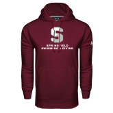 Under Armour Maroon Performance Sweats Team Hoodie-Swimming & Diving