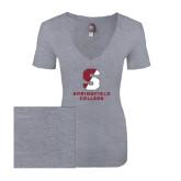 Next Level Ladies Vintage Heather Tri Blend V Neck Tee-Official Logo