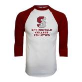 White/Maroon Raglan Baseball T Shirt-Springfield College Athletics