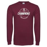 Maroon Long Sleeve T Shirt-NCAA III Mens Volleyball Champs