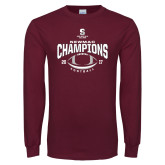 Maroon Long Sleeve T Shirt-2017 NEWMAC Football Champions Arched