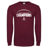 Maroon Long Sleeve T Shirt-2017 NEWMAC Football Champions Half Ball