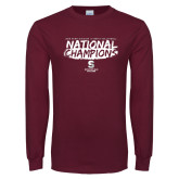 Maroon Long Sleeve T Shirt-D3 Mens Volleyball National Champions