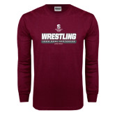 Maroon Long Sleeve T Shirt-Wrestling - 1000 Dual Victories