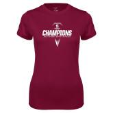 Ladies Performance Maroon Tee-NEWMAC Mens Lacrosse Champions