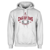 White Fleece Hoodie-2017 NEWMAC Football Champions Arched