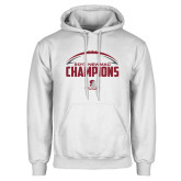 White Fleece Hoodie-2017 NEWMAC Football Champions Half Ball