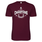 Next Level SoftStyle Maroon T Shirt-2017 NEWMAC Football Champions Arched