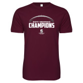 Next Level SoftStyle Maroon T Shirt-2017 NEWMAC Football Champions Half Ball