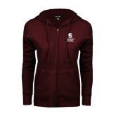 ENZA Ladies Maroon Fleece Full Zip Hoodie-Springfield College Athletics