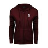ENZA Ladies Maroon Fleece Full Zip Hoodie-Springfield College Athletics