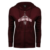 ENZA Ladies Maroon Fleece Full Zip Hoodie-2016 NEWMAC Champions Mens Lacrosse