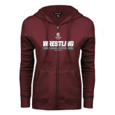 ENZA Ladies Maroon Fleece Full Zip Hoodie-Wrestling - 1000 Dual Victories