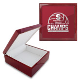 Red Mahogany Accessory Box With 6 x 6 Tile-NCAA III Mens Volleyball Champs