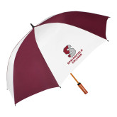 64 Inch Maroon/White Umbrella-Official Logo