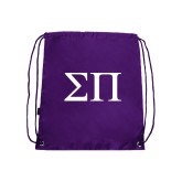 Purple Drawstring Backpack-Greek Letters