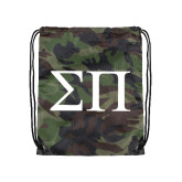 Nylon Camo Drawstring Backpack-Greek Letters