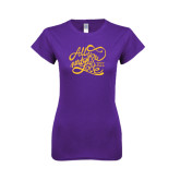 Next Level Ladies SoftStyle Junior Fitted Purple Tee-All You Need Is Love