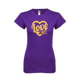 Next Level Ladies SoftStyle Junior Fitted Purple Tee-Love in Heart
