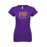 Next Level Ladies SoftStyle Junior Fitted Purple Tee-I Love Sigma Pi
