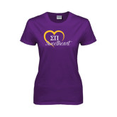 Ladies Purple T Shirt-Script Sweetheart w/ Heart