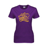 Ladies Purple T Shirt-All You Need Is Love