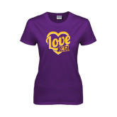Ladies Purple T Shirt-Love in Heart